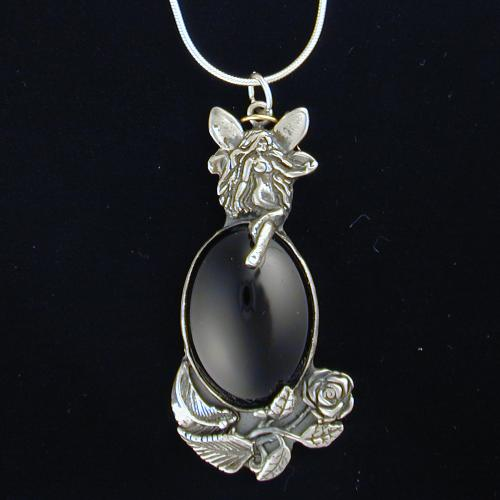 Fairy pendant gallery one handcrafted fairy pendants in silver and small black rose fairy sterling silver and black onyx pendant aloadofball Image collections